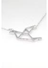Origami Pigeon - madár ezüst nyaklánc