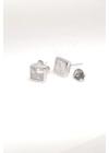 Square M - négyzet ezüst fülbevaló
