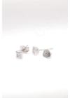 Square S - négyzet ezüst fülbevaló