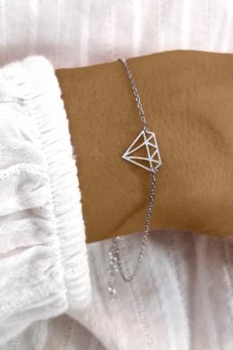 Diamond - gyémánt kontúr ezüst karkötő