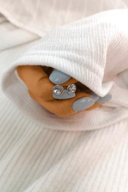 Shiny - köves kör ezüst fülbevaló