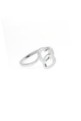 Double Heart - ezüstgyűrű