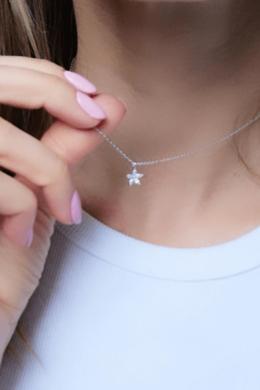Ymola - ezüst virág nyaklánc
