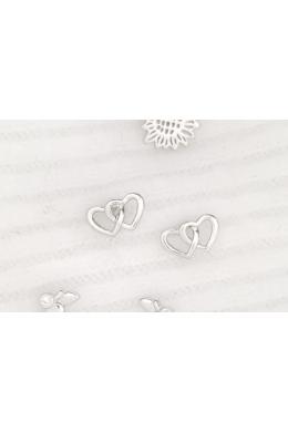Twin Love - ezüst szív fülbevaló