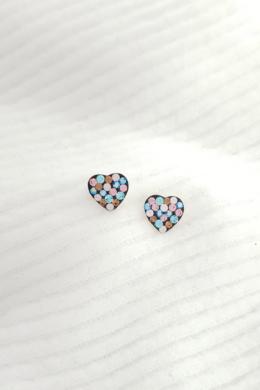 Harlequin Heart I - ezüst színes fülbevaló