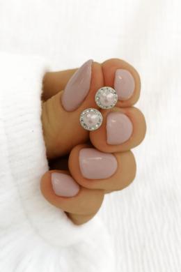 Ezüst Rózsaszín Köves Fülbevalók
