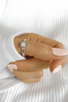 Négyzetes Fehér Köves Ezüstgyűrű