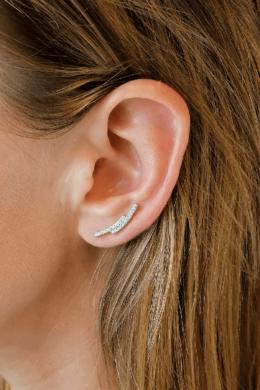 Íves Fülre Simuló Ezüst Fülcimpa Fülbevaló