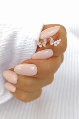 Rose pillangó ezüst fülbevaló rózsaszín köves