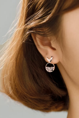 Rose lógós szívecske ezüst fülbevaló