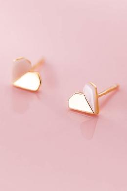 14 karátos arannyal futtatott ezüst szív fülbevaló