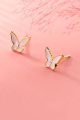 Arannyal futtatott pillangó ezüst fülbevaló