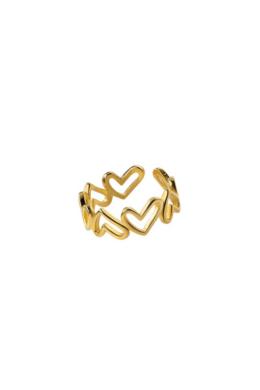 Aranyozott Szíves Ezüst Gyűrű