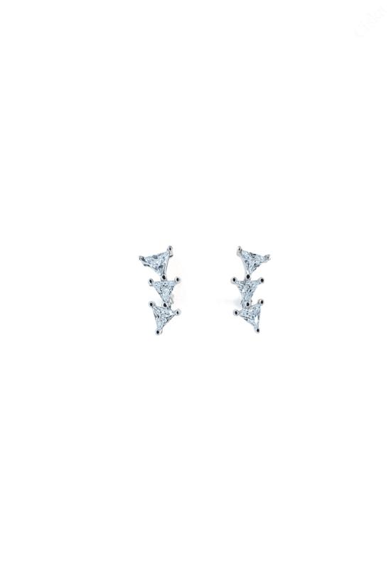 Ezüst Háromszög Alakú Fülbevalók