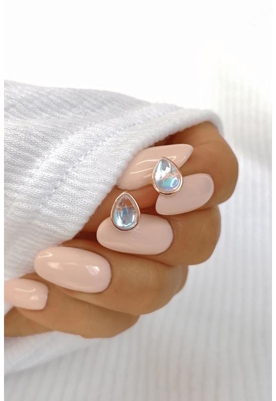 Rose könnycsepp opálszerű kővel ezüst fülbevaló