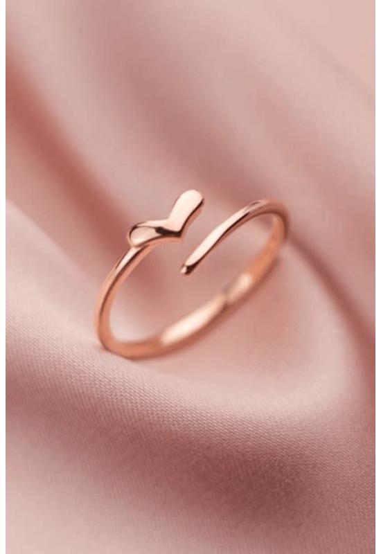 Rose gold nyitott szív ezüstgyűrű